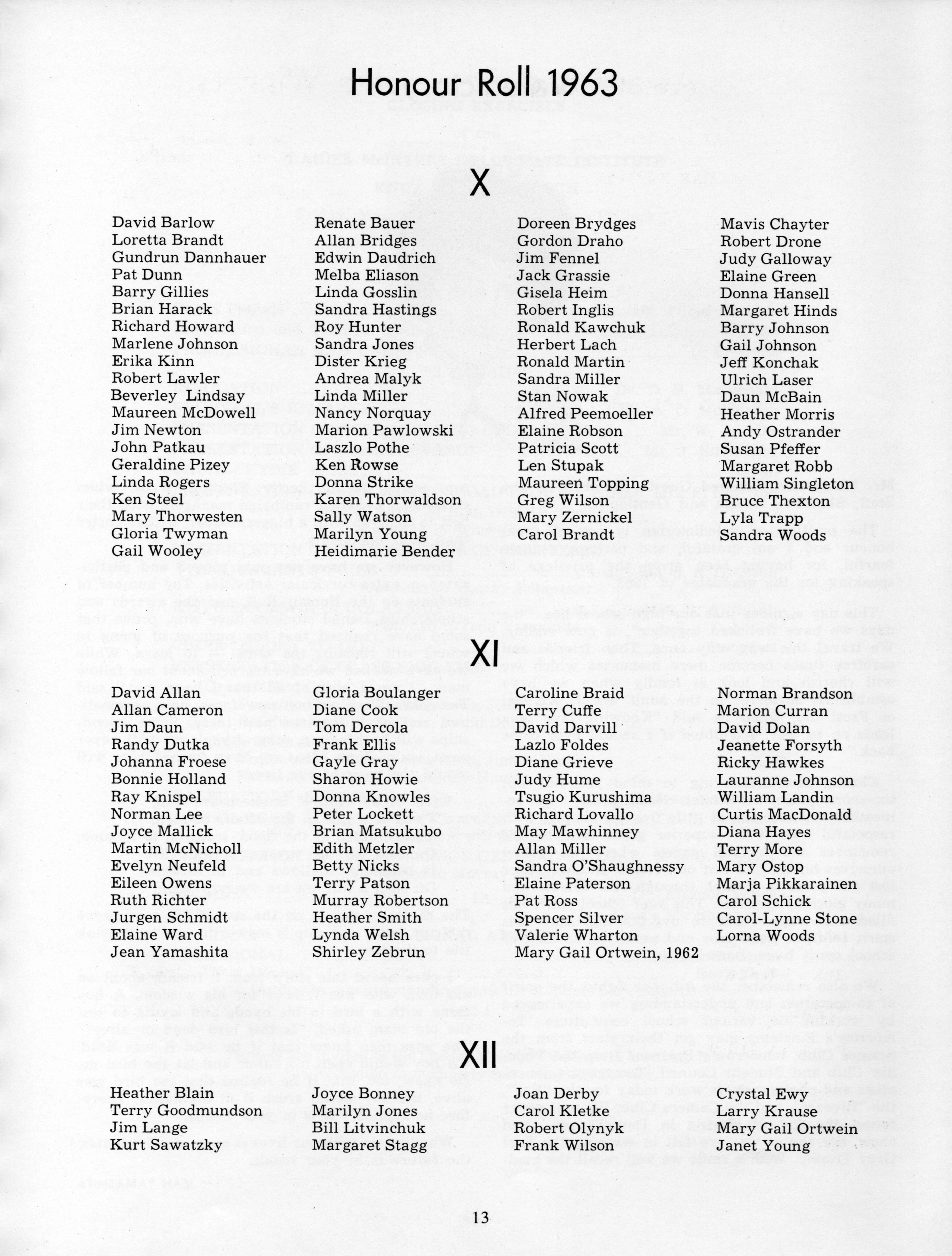 Download Dmci Breezes, 19621963, Page 13, Honour Roll